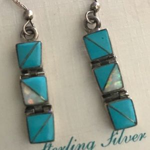 Sterling silver opal earrings Navajo boho vintage